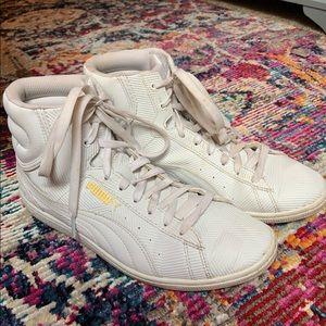 Puma white high top sneakers